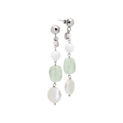 Orecchini pendenti con perle naturali, agata bianca e garnet