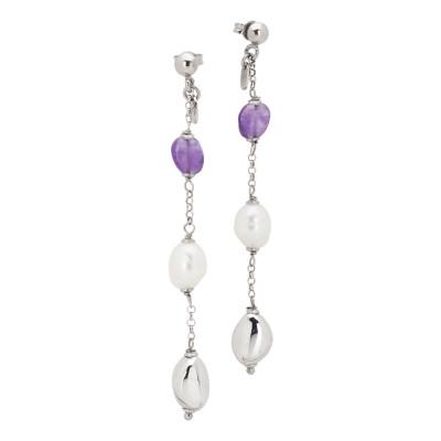Orecchini pendenti con perle naturali e ametista