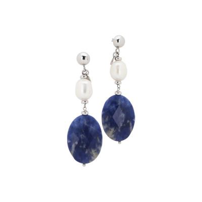 Orecchini con perla naturale e sodalite