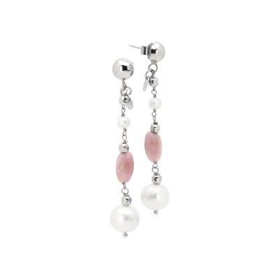 Orecchini pendenti con perle naturali e quarzo rosa