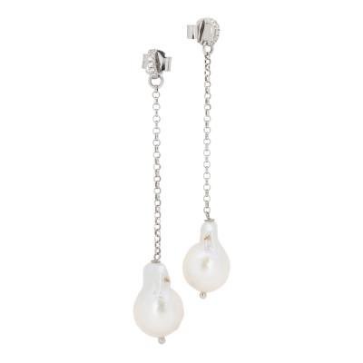 Orecchini con zirconi e perla barocca