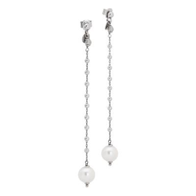 Orecchini con pendente decorato da boule e perla naturale finale