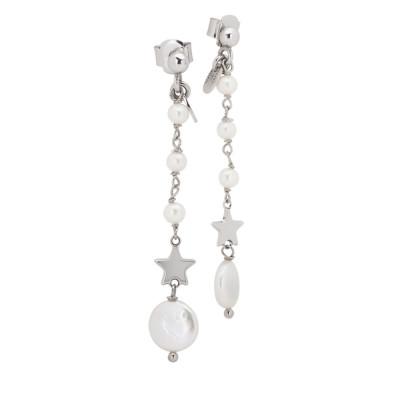 Orecchini pendenti con perle naturali e stella