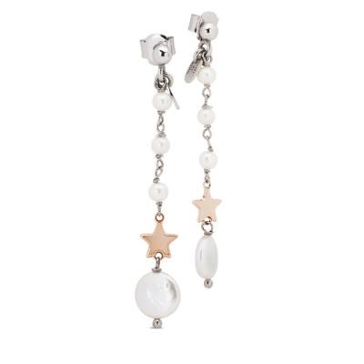 Orecchini pendenti con perle naturali e stella placcata oro rosa