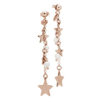 Orecchini a ciuffetto placcati oro rosa con stelle e perle naturali