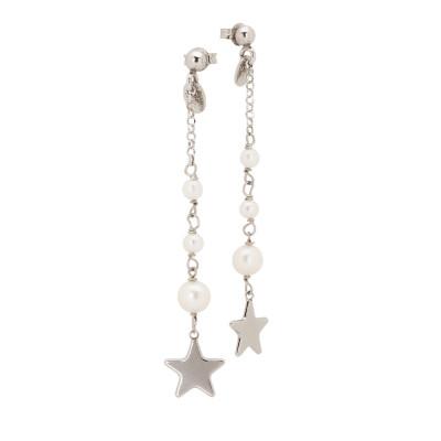 Orecchini con pendente di perle naturali degradè e stella