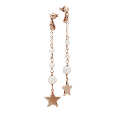 Orecchini placcati oro rosa con pendente di perle naturali degradè e stella