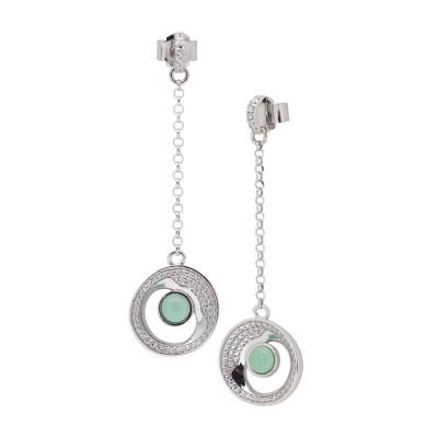 Orecchini pendenti con eclissi di luna e cristallo verde