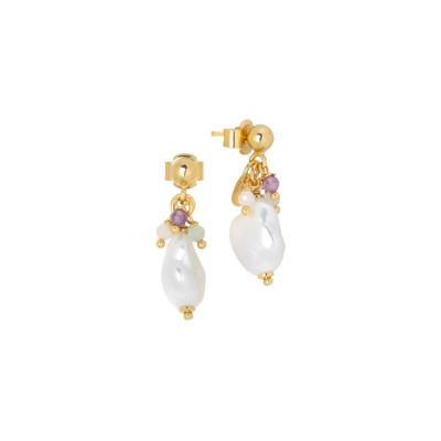 Orecchini con perla scaramazza e ciuffetto di perle tonde, ametista, acquamarina, quarzo rosa e morganite pink