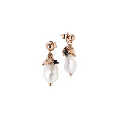 Orecchini con perla scaramazza e ciuffetto di perle tonde, quarzo fumè, pietra di luna e spinello