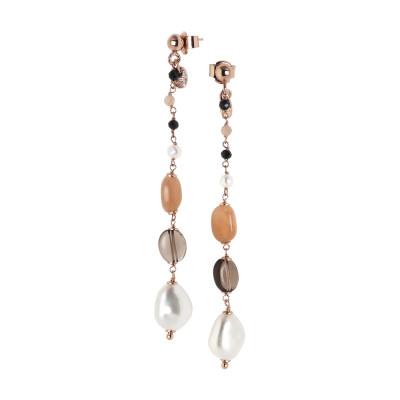 Orecchini pendenti con perle naturali, quarzo fumè, pietra di luna e spinello