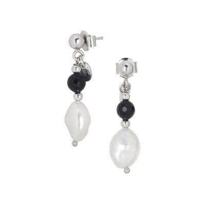 Orecchini con perla scaramazza e ossidiana