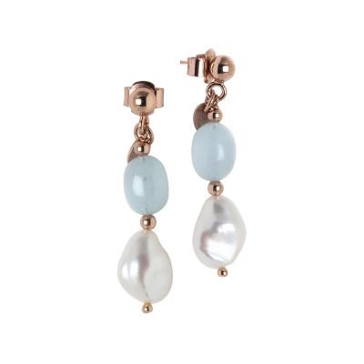 Orecchini con perla scaramazza e acquamarina