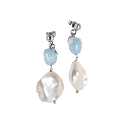 Orecchini pendenti con perla scaramazza e acquamarina