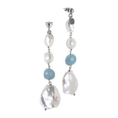 Orecchini pendenti con perle scaramazze e acquamarina