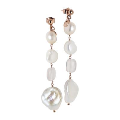 Orecchini pendenti con perle scaramazze e quarzo rosa