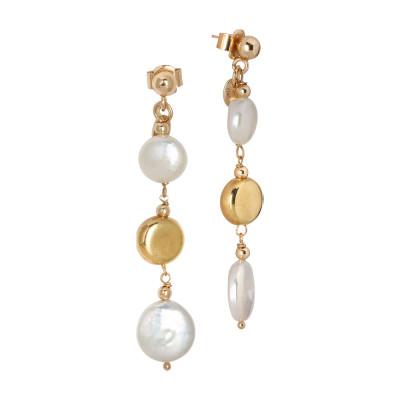 Orecchini placcati oro giallo con perle a bottone