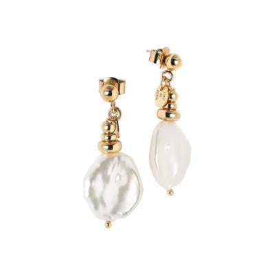 Orecchini placcati oro giallo con perle keshi