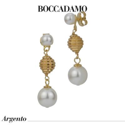 Orecchini pendenti con perle Swarovski e boule diamantata