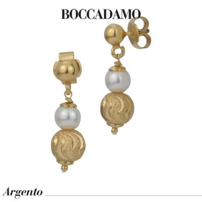 Orecchini pendenti con perle Swarovski e boule satinata