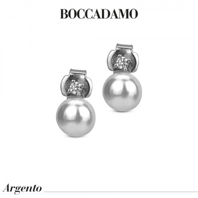 Orecchini con punto luce in zirconi e perla Swarovski grande