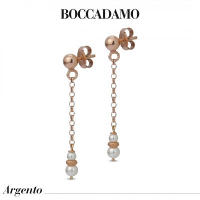 Orecchini pendenti placcati oro rosa con perle Swarovski ed elementi diamantati