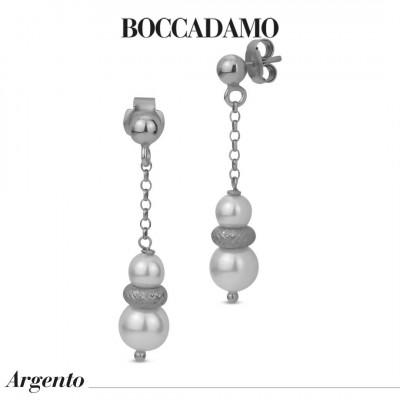 Orecchini pendenti con perle Swarovski ed elemento diamantato