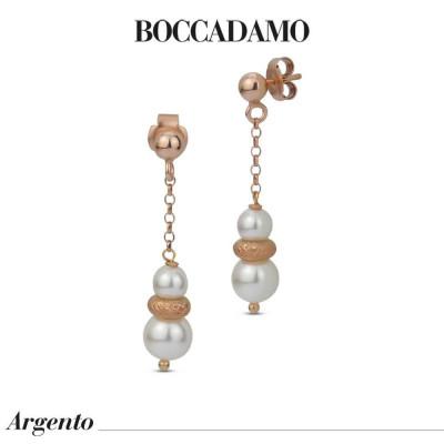Orecchini pendenti placcati oro rosa con perle Swarovski ed elemento diamantato