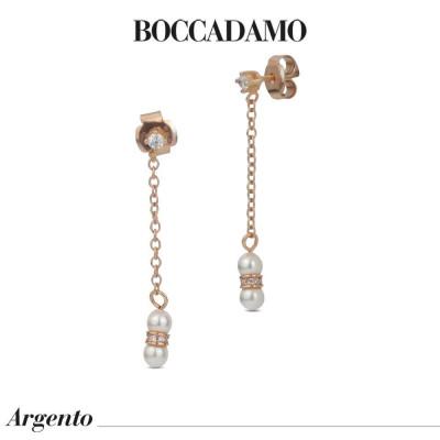 Orecchini pendenti placcati oro rosa con punto luce di zirconi e perla Swarovski