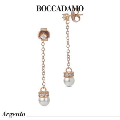 Orecchini pendenti placcati oro rosa con punto luce e perla Swarovski