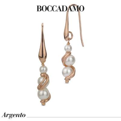 Orecchini placcati oro rosa con perle Swarovski e decoro a spirale