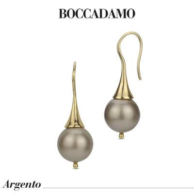 Orecchini monachella con perla Swarovski color platinum
