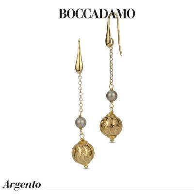 Orecchini pendenti con perla Swarovski platinum e boul diamantata
