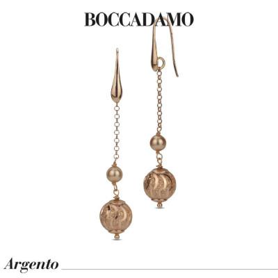 Orecchini pendenti con perla Swarovski rose gold e boul diamantata