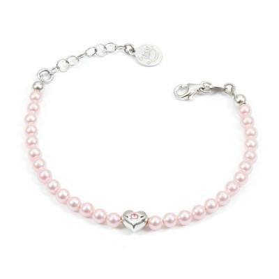 Bracciale in argento con perle rosa e cuore centrale