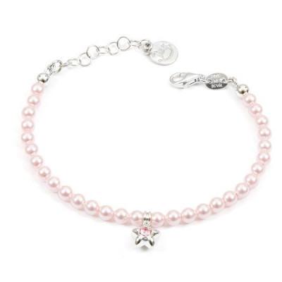 Bracciale in argento con perle rosa e stella centrale
