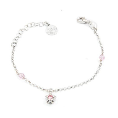 Bracciale in argento con cristalli Swarovski rosa e stella centrale
