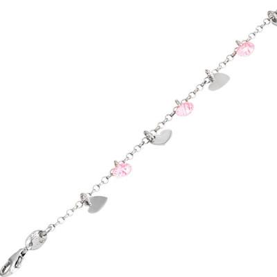 Bracciale in argento con charms e zirconi rosa
