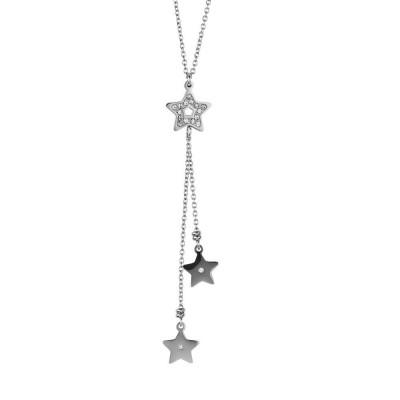 Collana in acciaio con pendente a ciuffetto di stelle
