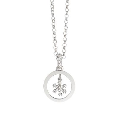 Collana con ciondolo in zirconi a forma di fiocco di neve