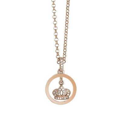 Collana rosata con ciondolo a forma di corona e zirconi