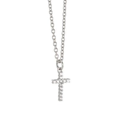 Collana con croce pendente di zirconi