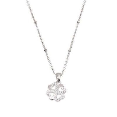 Collana in argento con quadrifoglio pendente in zirconi