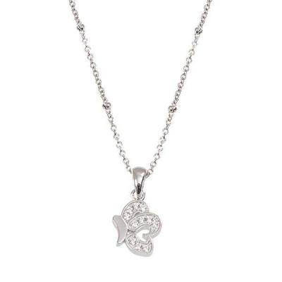Collana in argento con farfalla pendente in zirconi