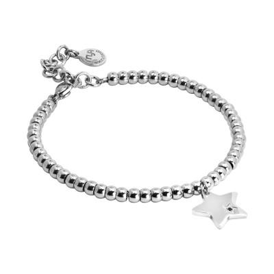 Bracciale beads con stella pendente e zircone nero