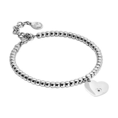 Bracciale beads con cuore pendente e zircone nero