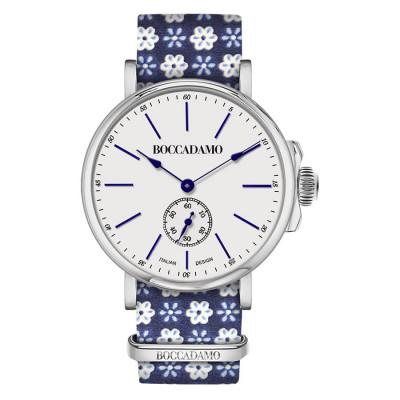 Orologio con cinturino sartoriale dalla fantasia floreale blu