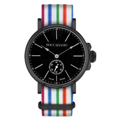 Orologio con cinturino sartoriale a righe orizzontali multicolor e fibbia nera