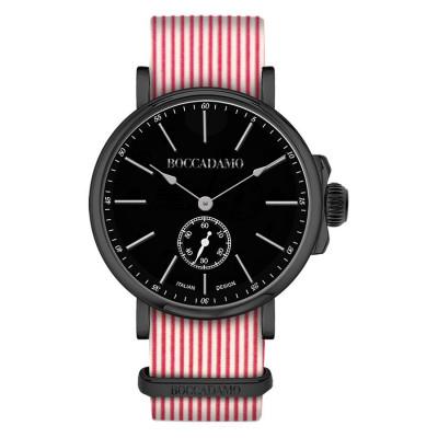 Orologio con cinturino sartoriale a righe orizzontali rosse e fibbia nera