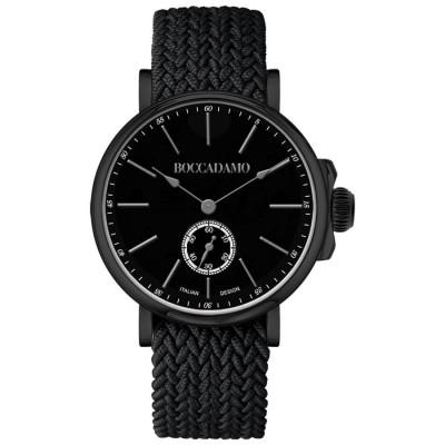 Orologio con quadrante nero e cinturino in nylon Perlon nero